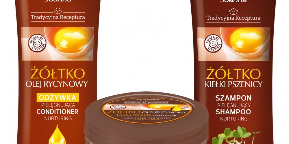 Żółtko w kosmetykach do włosów Joanna Tradycyjna Receptura